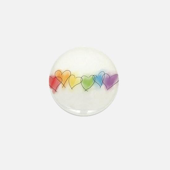 Watercolor Rainbow Hearts Mini Button