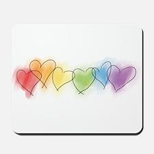 Watercolor Rainbow Hearts Mousepad