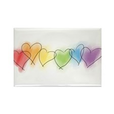 Watercolor Rainbow Hearts Rectangle Magnet