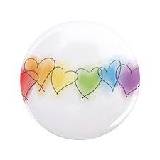 "Watercolor Rainbow Hearts 3.5"" Button"