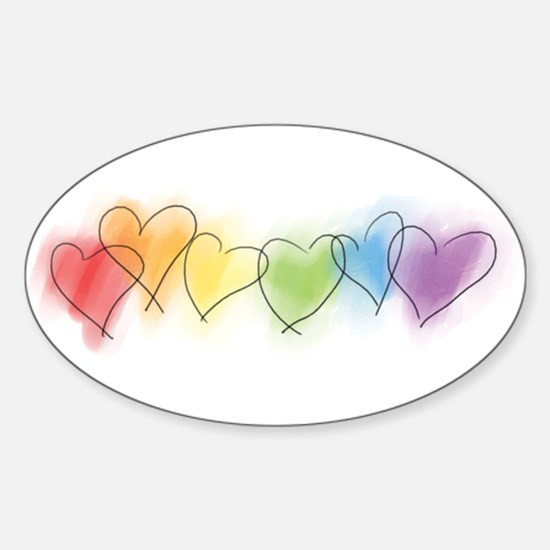 Watercolor Rainbow Hearts Sticker (Oval)