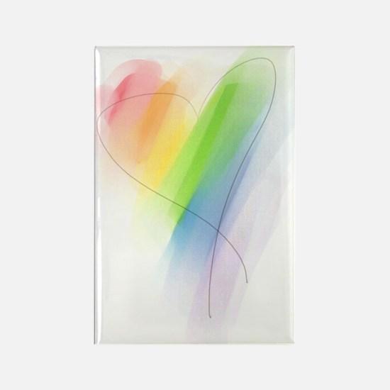 Rainbow Heart Rectangle Magnet