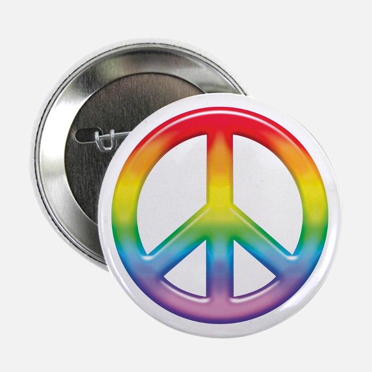 """Gay Pride Rainbow Peace Symbol 2.25"""" Button"""