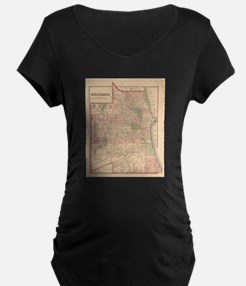 Vintage Map of Chicago Illinois Maternity T-Shirt
