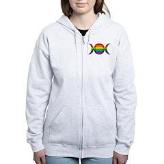 Rainbow Triple Goddess Symbol Zip Hoodie