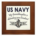 NAVY Granddaughter Defending Framed Tile