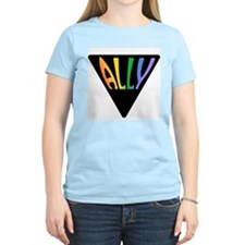 Gay Ally Rainbow Triangle Women's Pink T-Shirt