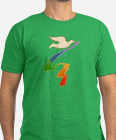 Dove with Rainbow Ribbon T