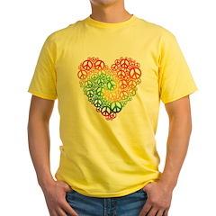 Rainbow Peace Hearts Yellow T-Shirt