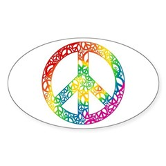 Rainbow Peace Symbols Sticker (Oval)