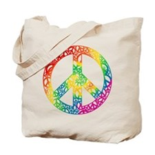 Rainbow Peace Symbols Tote Bag