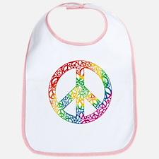Rainbow Peace Symbols Bib