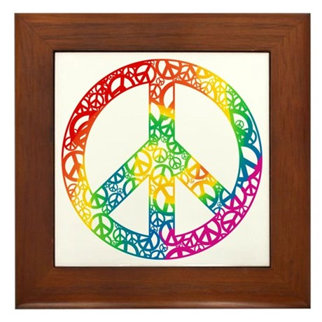 Rainbow Peace Symbols Framed Tile