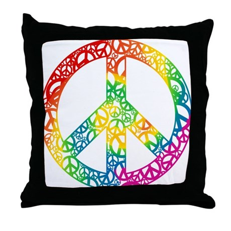 Rainbow Peace Symbols Throw Pillow