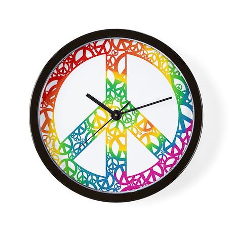 Rainbow Peace Symbols Wall Clock