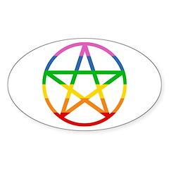 Rainbow Pentacle Sticker (Oval)
