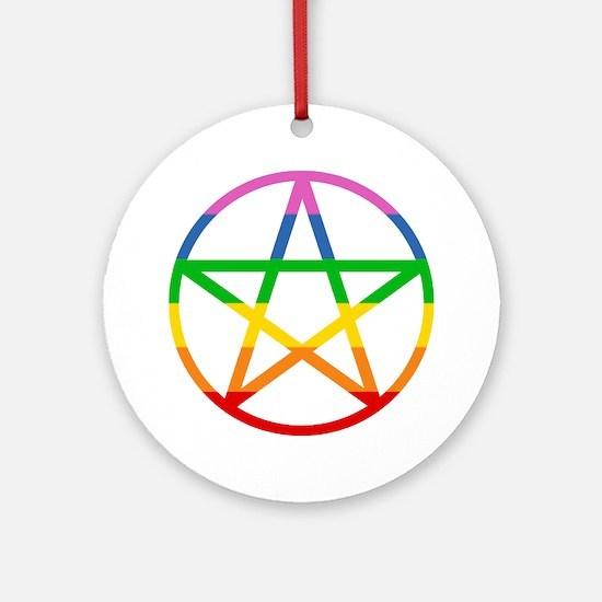 Rainbow Pentacle Ornament (Round)