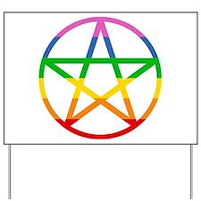 Rainbow Pentacle Yard Sign