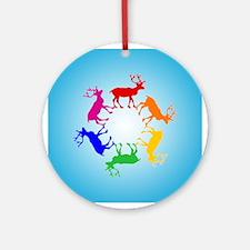 Rainbow Reindeer Ornament (Round)