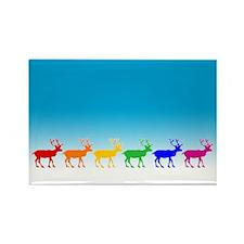 Rainbow Reindeer Rectangle Magnet