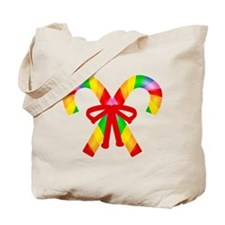Rainbow Candy Canes Tote Bag