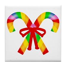 Rainbow Candy Canes Tile Coaster