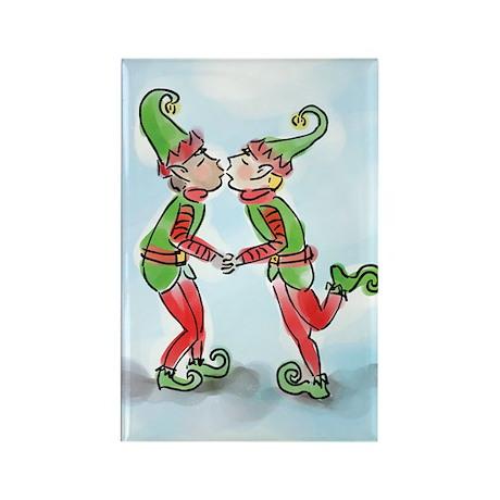 Elves Kissing Rectangle Magnet