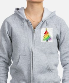 Rainbow Holiday Tree Zip Hoodie