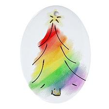 Rainbow Holiday Tree Ornament (Oval)