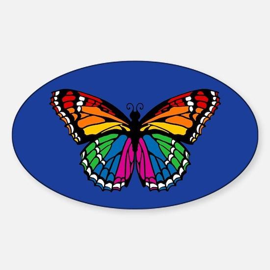 Rainbow Butterfly Sticker (Oval)