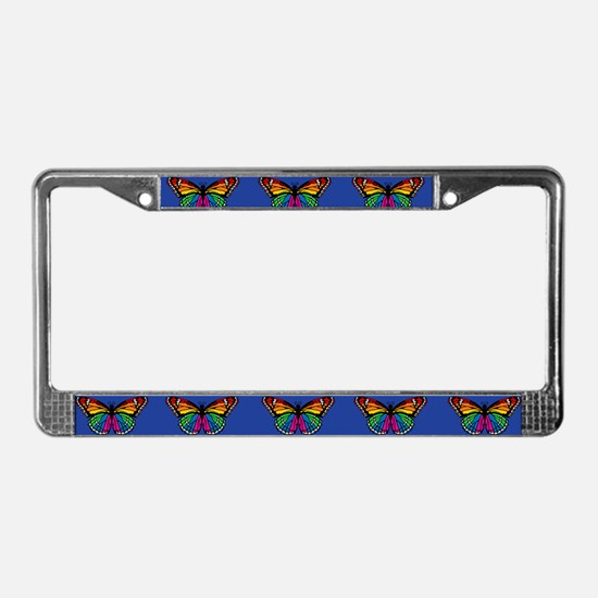 Rainbow Butterfly License Plate Frame