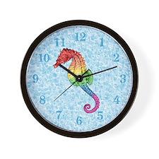 Rainbow Seahorse Wall Clock
