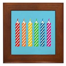 Rainbow Birthday Candles Framed Tile