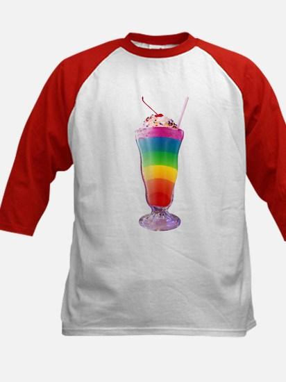 Rainbow Stripe Milkshake Kids Baseball Jersey