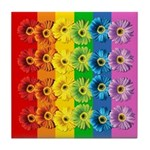 Rainbow Daisies Tile Coaster
