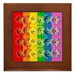 Rainbow Daisies Framed Tile
