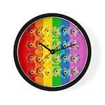 Rainbow Daisies Wall Clock