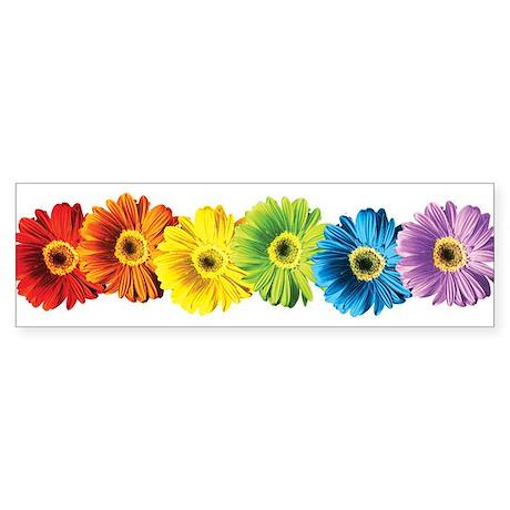 Rainbow Daisies Sticker (Bumper)