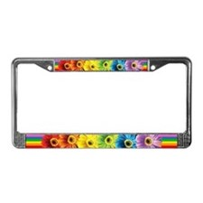 Rainbow Daisies License Plate Frame
