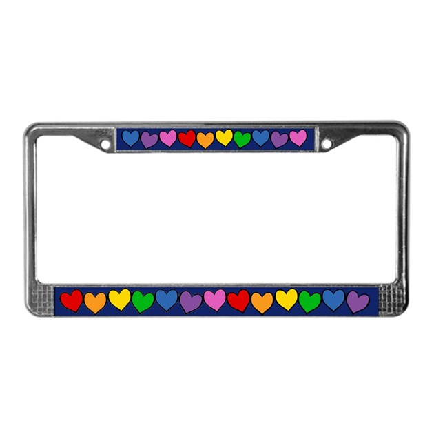 Rainbow Hearts License Plate Frame By Rainbowthree