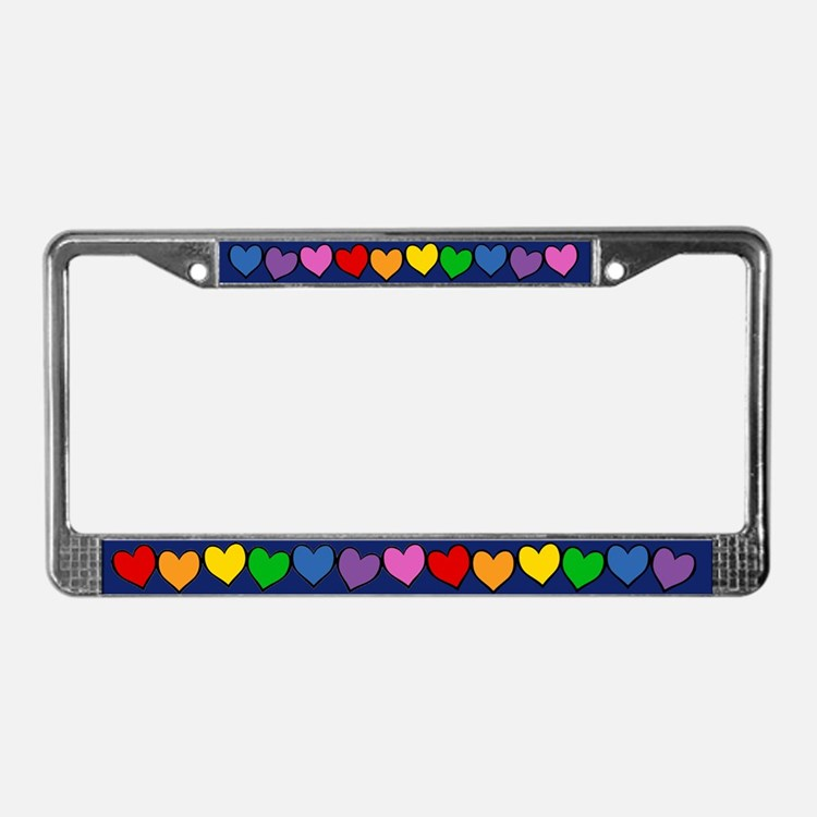 Rainbow Hearts License Plate Frame