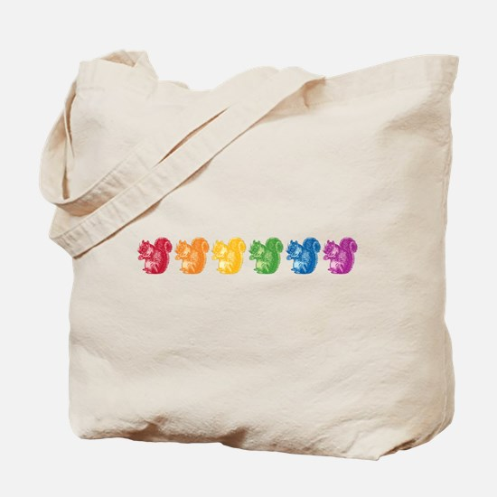 Rainbow Squirrels Tote Bag