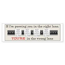 Funny Passing lane Bumper Sticker