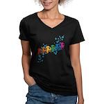 Rainbow Patio Chairs Women's V-Neck Dark T-Shirt
