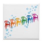 Rainbow Patio Chairs Tile Coaster