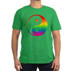 Rainbow Yin Yang Men's Fitted T-Shirt (dark)