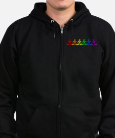 Row of Rainbow Buddha Statues Zip Hoodie