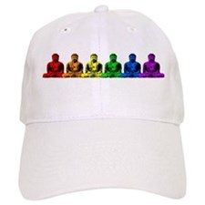Row of Rainbow Buddha Statues Baseball Cap