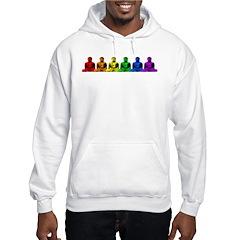 Row of Rainbow Buddha Statues Hoodie