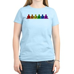 Row of Rainbow Buddha Statues Women's Pink T-Shirt